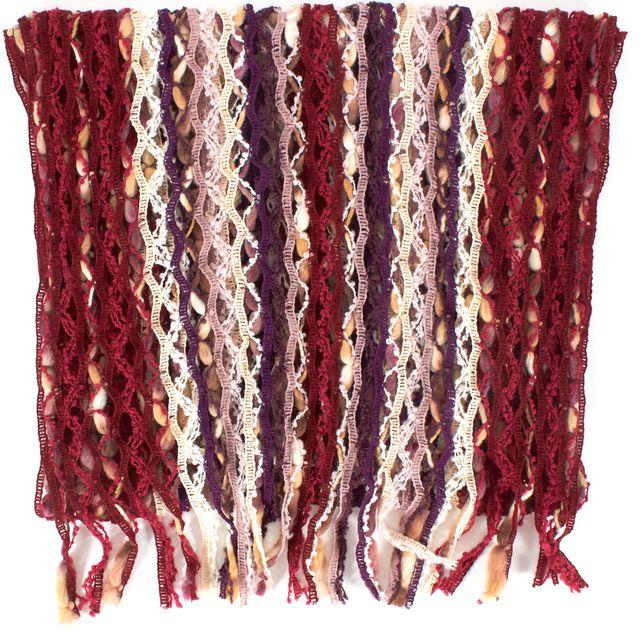 MISSONI Purple Red Striped Wool Open Knit Scarf