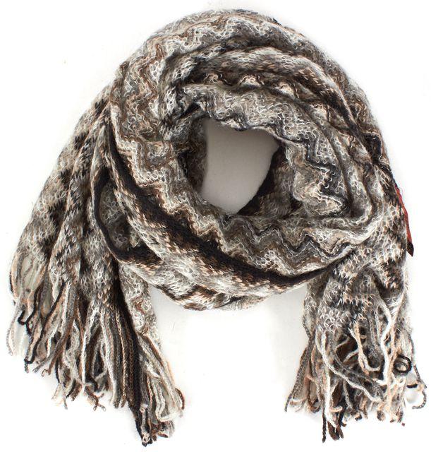 MISSONI Brown Beige Grey Black White Chevron Knit Scarf