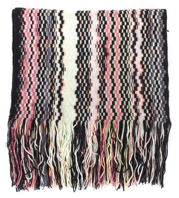 MISSONI Pink Black Ivory Wool Abstract Striped Scarf