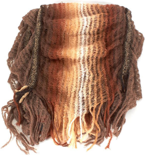 MISSONI Brown Ivory Striped Ruched Open Knit Long Scarf