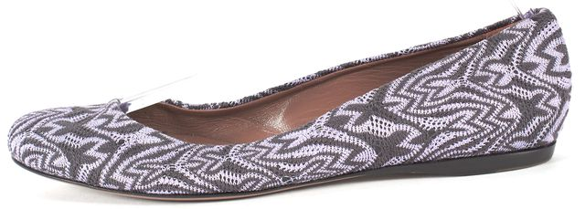 MISSONI Purple Black Abstract Striped Canvas Knit Ballet Flats
