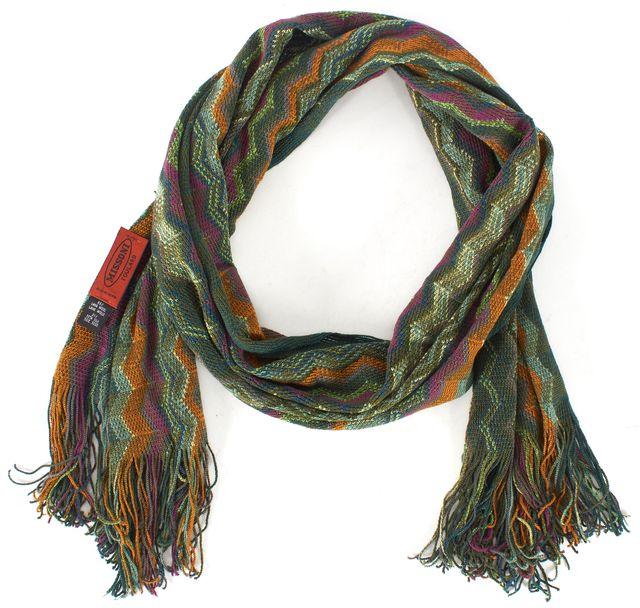 MISSONI Green Orange Blue Chevron Wool Knit Scarf