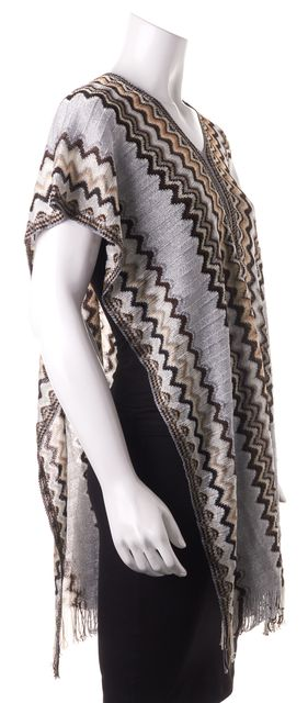 MISSONI Blue Brown Zig-Zag Chevron Knit Shawl Scarf