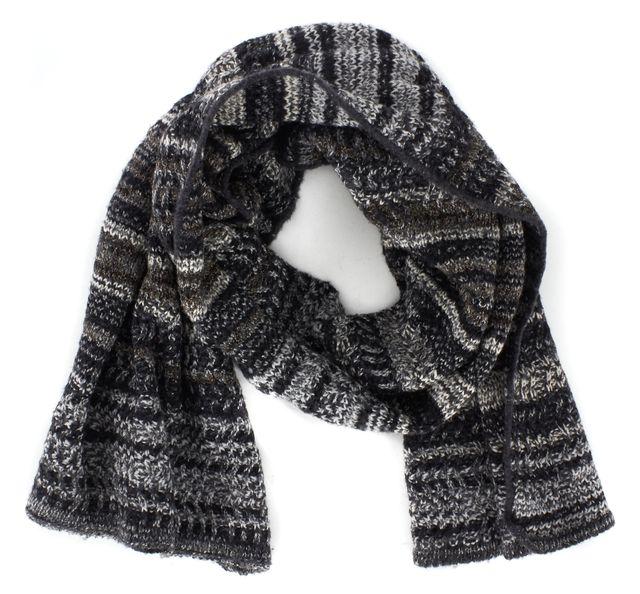 MISSONI Gray Black Striped Marled Chunky Knit Wool Scarf