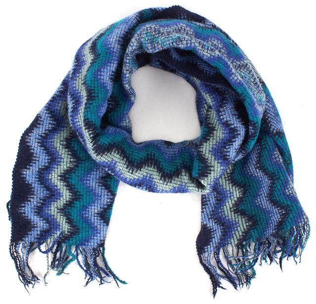 MISSONI Blue Green Purple Zig Zag Chevron Wool Scarf