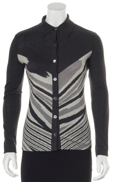MISSONI Gray Beige Abstract Striped Wool Collared Cardigan