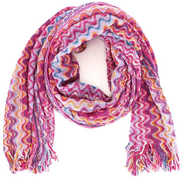 MISSONI Pink Purple Orange Zig Zag Chevron Scarf