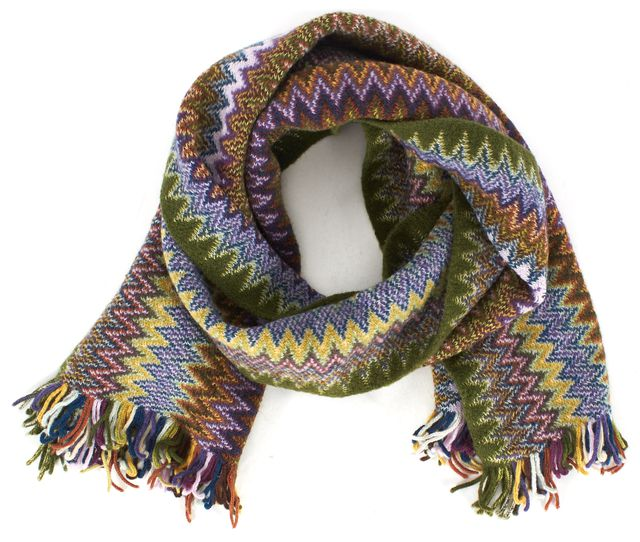 MISSONI Green Purple Yellow Chevron Wool Knit Scarf