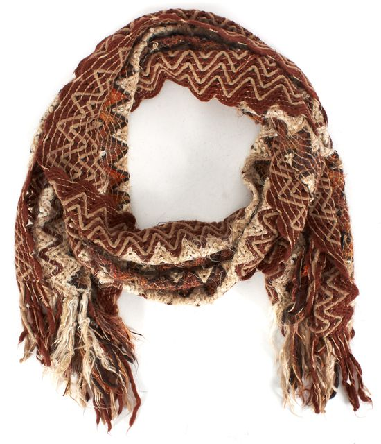 MISSONI Brown Beige Orange Chevron Fringe Trim Knit Scarf