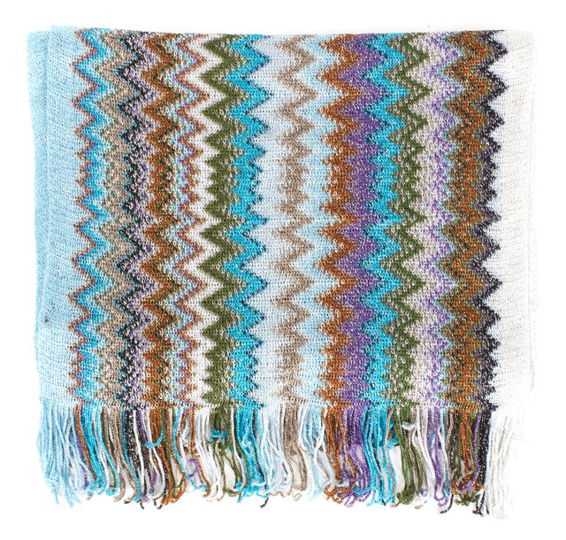 MISSONI Blue Purple Brown Zig Zag Striped Knit Long Fringe Scarf
