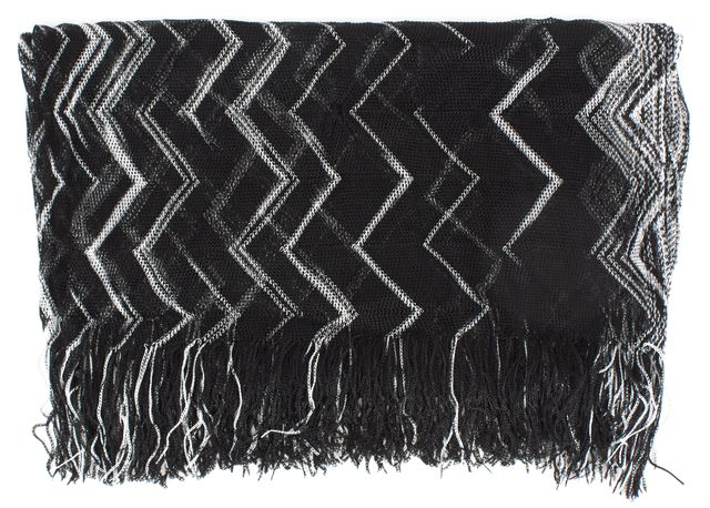 MISSONI Black White Chevron Stripe Fringe Trim Light Knit Scarf