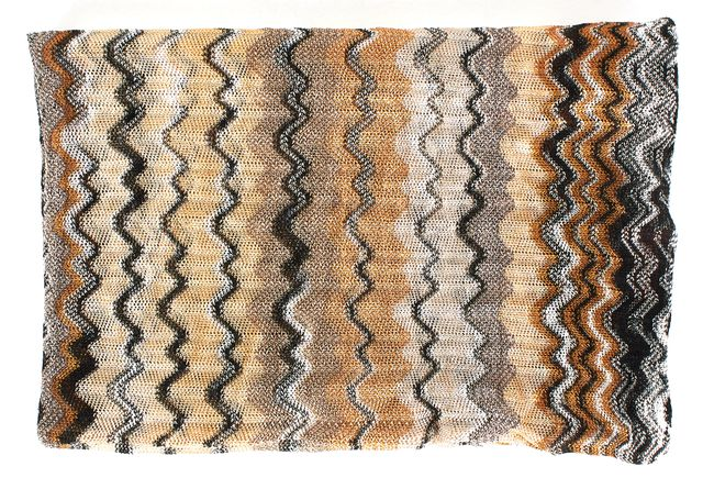 MISSONI Beige Black Brown Chevron Striped Light Knit Infinity Scarf