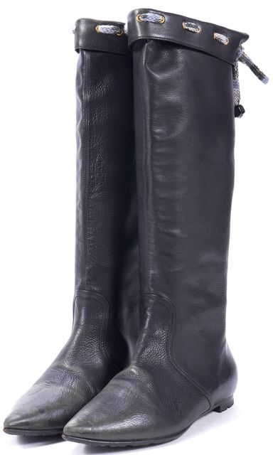 MISSONI Black Genuine Leather Wool Lace Mid-Calf Tall Boots