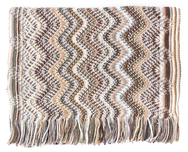 MISSONI Brown Metallic Silver White Zig-Zag Stripe Wool Fringe Trim Scarf