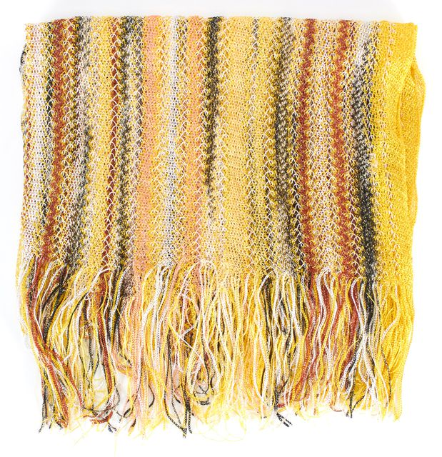 MISSONI Yellow Black White Orange Gold Striped Sheer Open Knit Fringe Trim Scarf