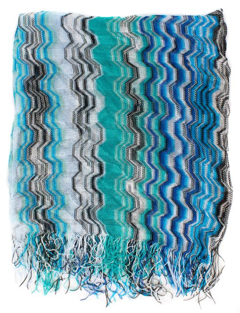 MISSONI Blue White Green Abstract Striped Fringe Trim Knit Scarf