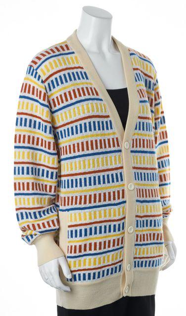 MISSONI SPORT White Red Yellow Blue Striped Thin Knit Cardigan