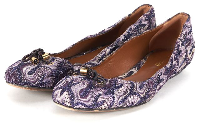 MISSONI Purple Metallic Abstract Knit Bow-Tie Ballet Flats