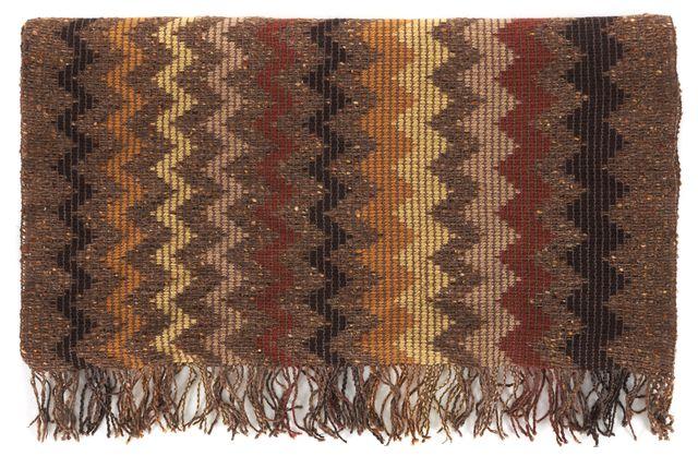 MISSONI Brown Red Orange Chevron Striped Wool Silk Scarf