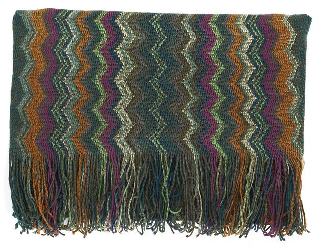 MISSONI Green Purple Orange Chevron Striped Wool Silk Scarf