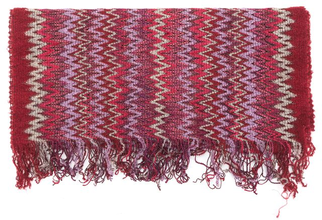 MISSONI Red Metallic Pink Purple Chevron Zig-Zag Striped Wool Knit Fringe Scarf