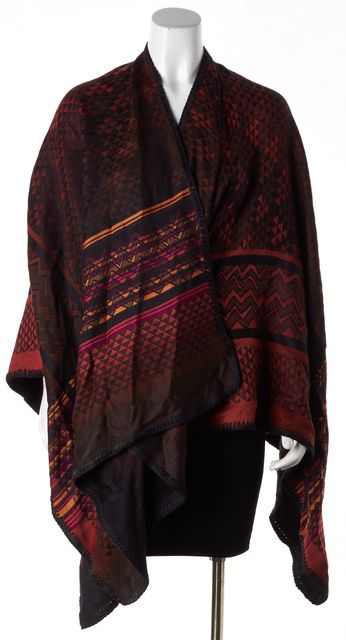MISSONI Black Multi-Color Wool Abstract Open Poncho