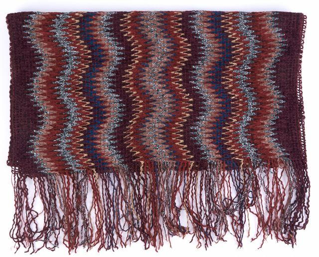 MISSONI Red Abstract Print Scarf