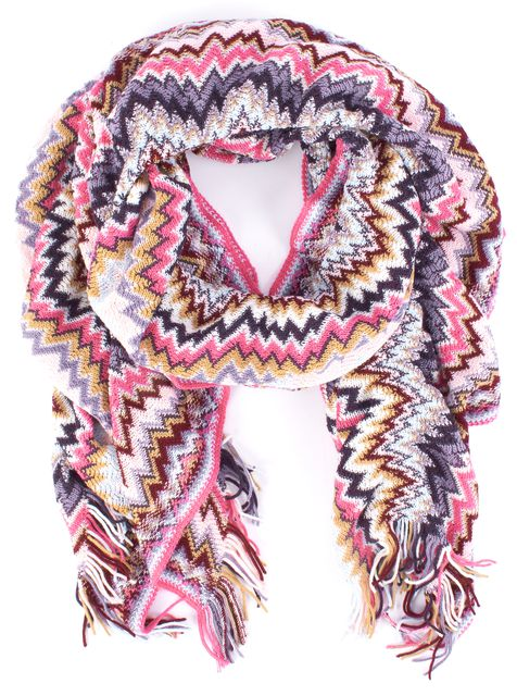 MISSONI Multi-color Pink Red Purple Blue White Fringed Detail Wool Scarf