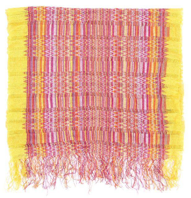 MISSONI Yellow Orange Purple Multi Open Knit Chevron Striped Fringe Trim Scarf