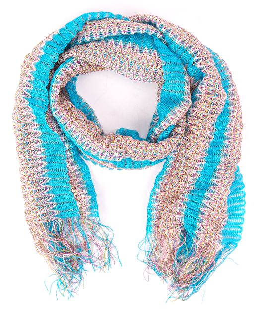MISSONI Blue Multi-color Abstract Scarf