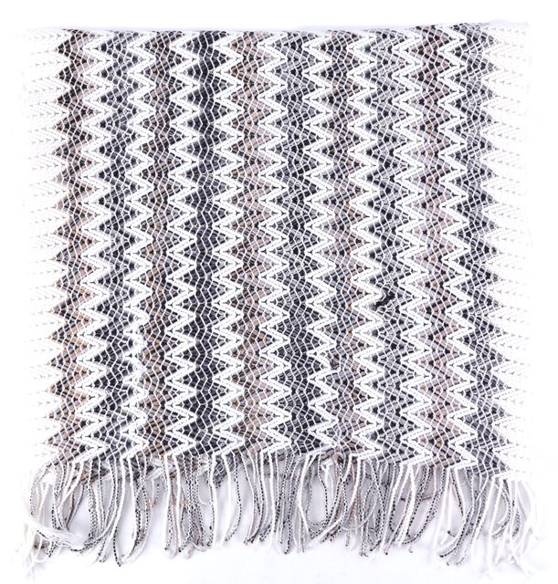 MISSONI Brown Black Gray Ivory Chevron Wool Blend Fringed Scarf