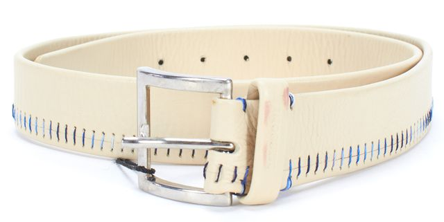 MISSONI SPORT Ivory Blue Leather Embroidered Brass Buckle Belt