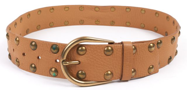 MIU MIU Brown Antique Gold Studded Leather Belt Size 32