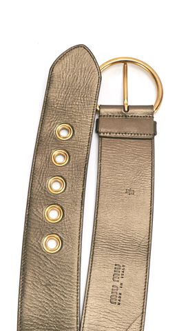MIU MIU Green Gold Metallic Leather Wide Waist Belt Size 28 70