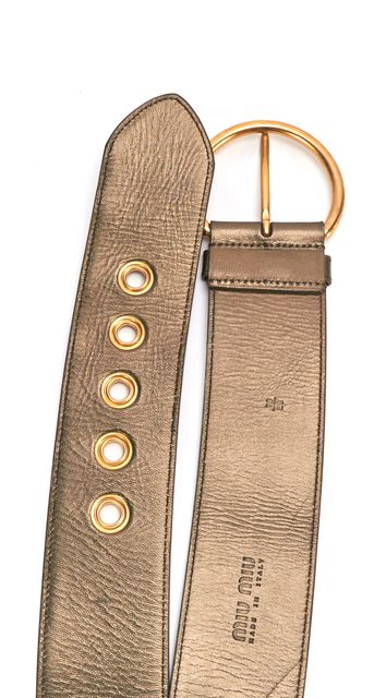MIU MIU Green Gold Metallic Leather Wide Waist Belt