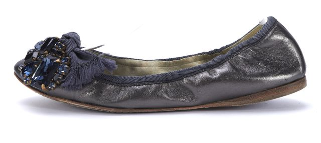 MIU MIU Metallic Blue Leather Embellished Flats Size 36.5
