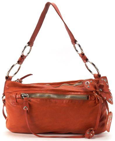 MIU MIU Orange Leather Flower Embellished Studded Shoulder Bag