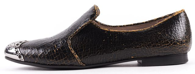 MIU MIU Black Cracked Leather Silver Cap-toe Loafers