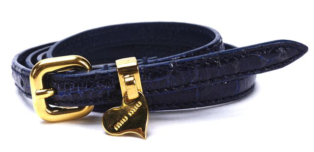 MIU MIU Blue Embossed Patent Leather Gold Tone Skinny Belt