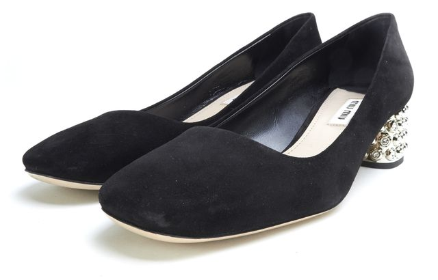 MIU MIU Black Suede Jeweled Heels Size 37.5 w/ Box