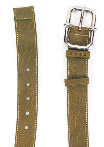 MIU MIU Green Leather Alligator Skin Silver Buckle Belt