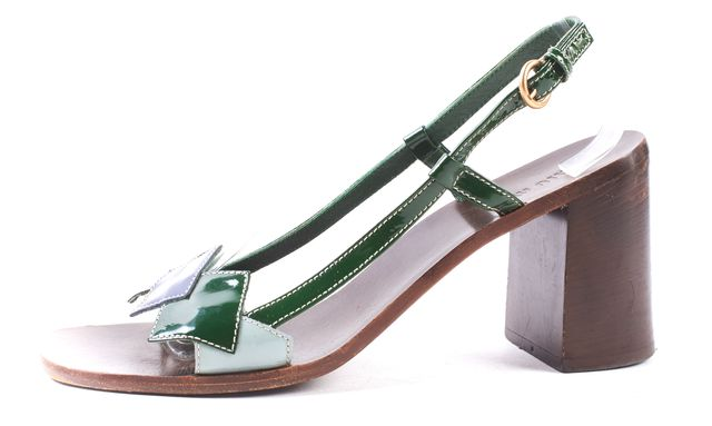 MIU MIU Green Blue Patent Leather Open Toe Strappy Slingback Heels Size 39.5