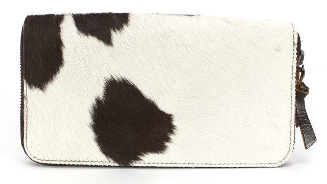 MIU MIU Brown White Calf Hair Cow Print Wallet