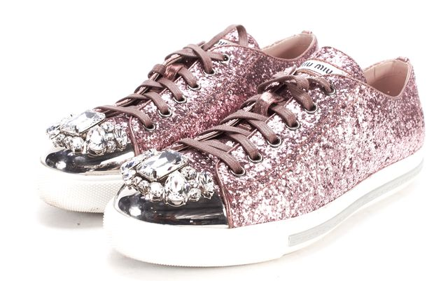 MIU MIU Pink Glitter Lace up Embellished Sneaker