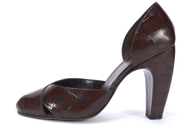 MIU MIU Brown Embossed Leather Peep Toe D'orsay Pumps Size 40