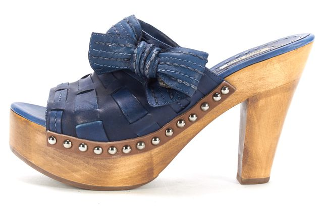 MIU MIU Navy Leather Wooden Open-toe Slip-on Mules