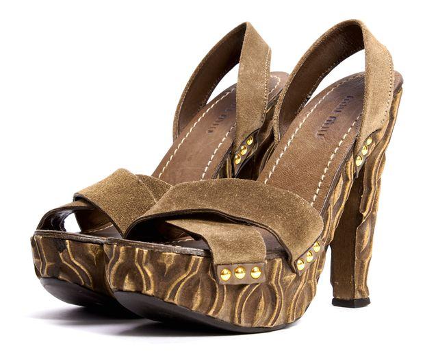 MIU MIU Brown Suede Carved Wood Slingback Platform Heels