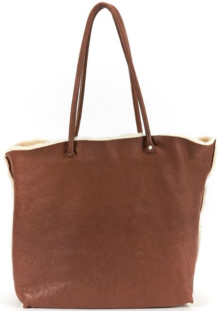 MIU MIU Brown Sheepskin Leather Fur Lining Tote Bag
