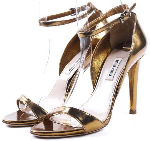 MIU MIU Gold Metallic Leather Ankle Strap Sandal Heels