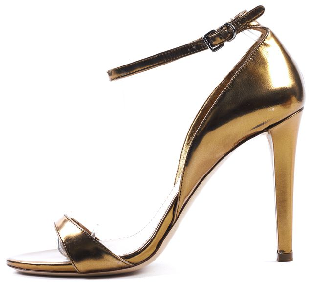 MIU MIU Gold Metallic Leather Ankle Strap Sandal Heels